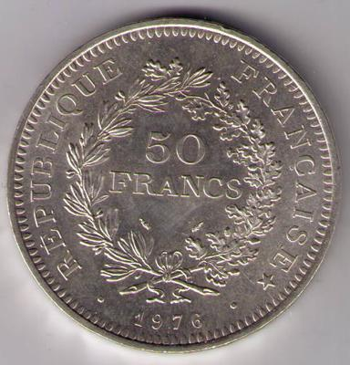 pi ce de 50 f 1976 hercule zoom pi ces de monnaies fran aises de 50 francs. Black Bedroom Furniture Sets. Home Design Ideas