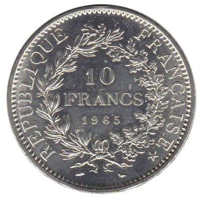 piece de monnaie argent 10 f 1965